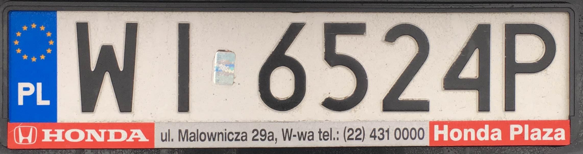 Registrační značka Polsko – WI - Warszawa-střed, foto: vlastní