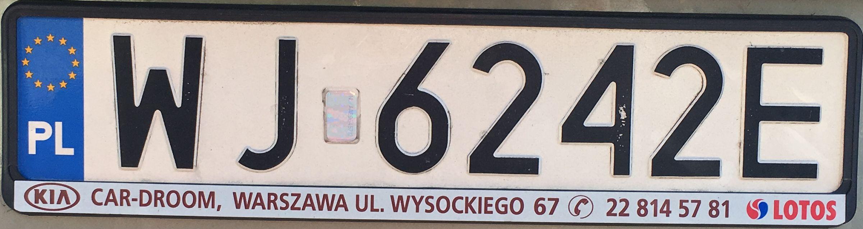 Registrační značka Polsko – WJ – Warszawa-Targówek, foto: www.podalnici.cz