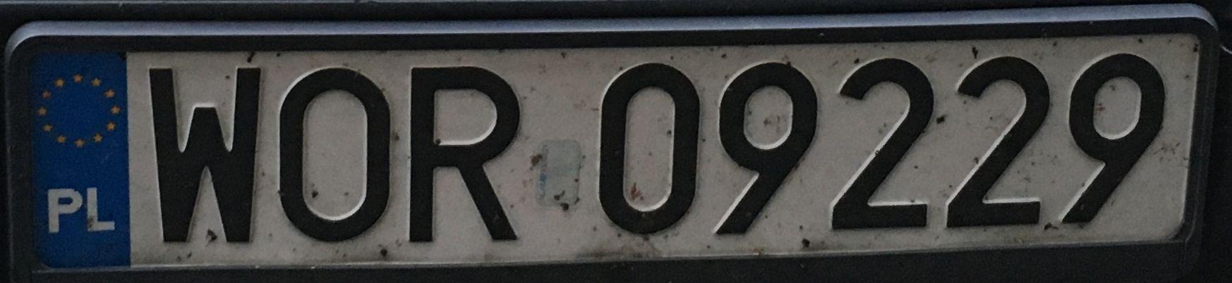 Registrační značka Polsko – WOR - Ostrów Mazowiecka, foto: www.podalnici.cz