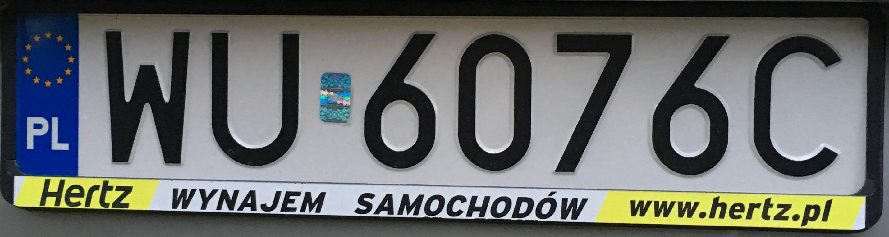 Registrační značka Polsko – WU - Warszawa-Ochota, foto: vlastní