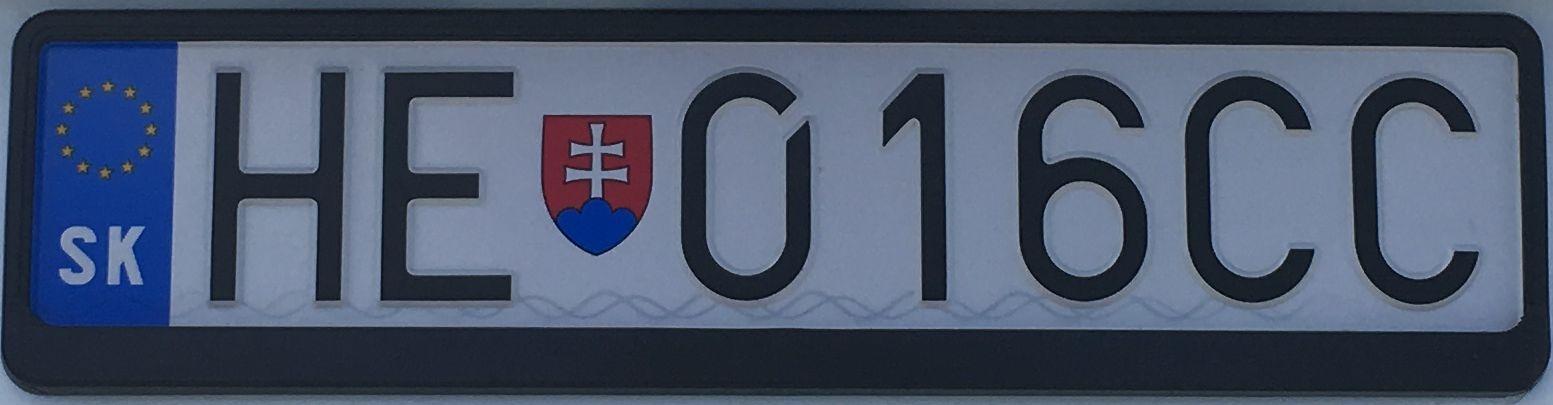 Registrační značka Slovensko - HE - Humenné, foto:www.podalnici.cz