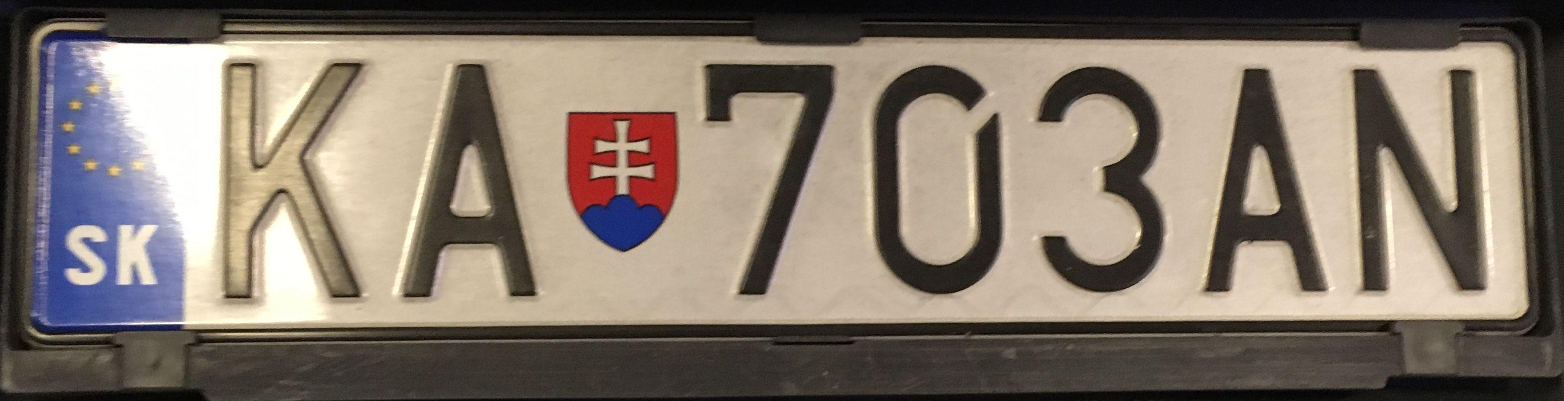 Registrační značka Slovensko - KA - Krupina, foto:www.podalnici.cz