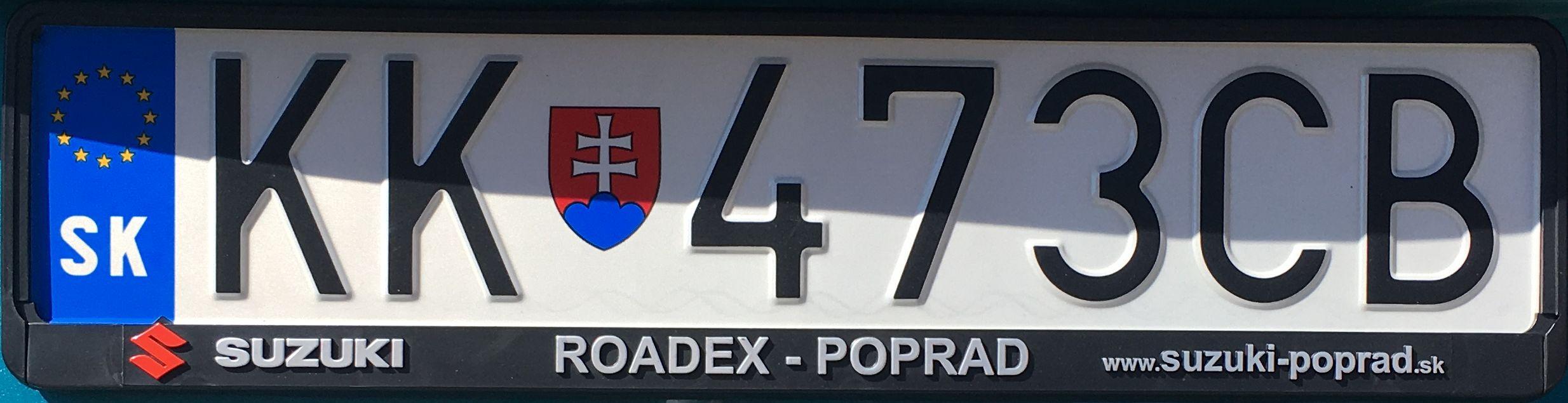 Registrační značka Slovensko - KK - Kežmarok, foto:www.podalnici.cz