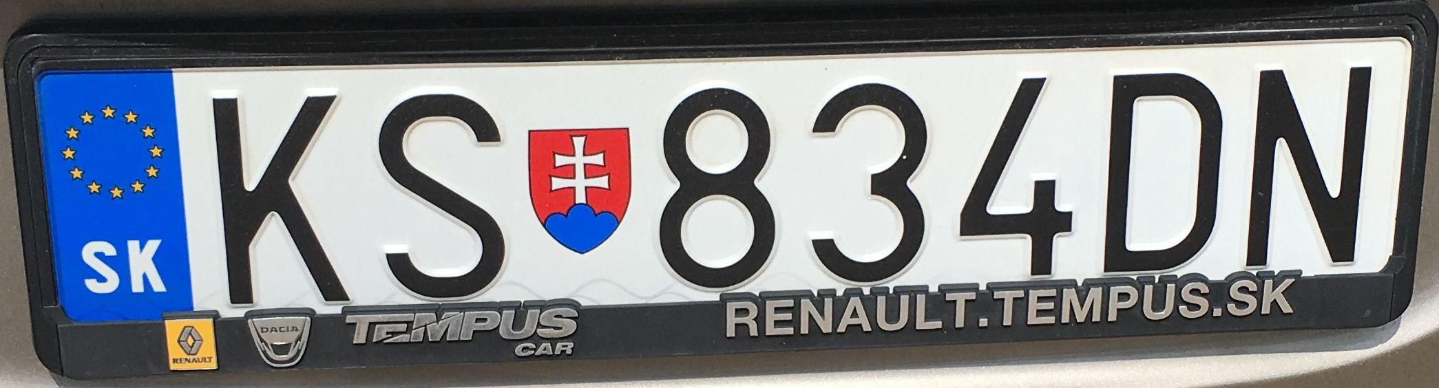 Registrační značka Slovensko - KS - Košice-venkov, foto:www.podalnici.cz