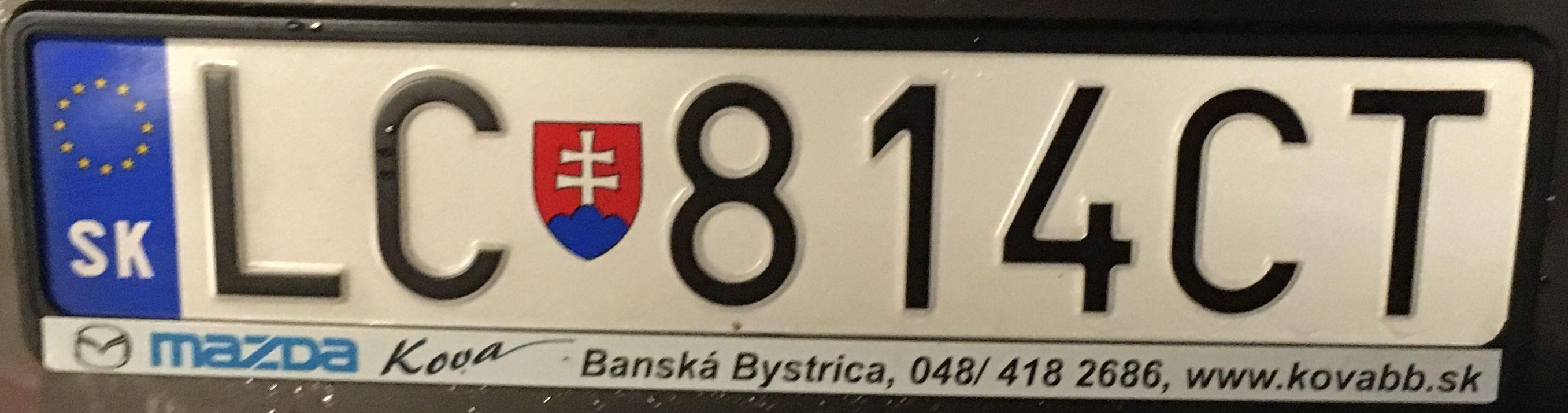 Registrační značka Slovensko - LC - Lučenec, foto:www.podalnici.cz