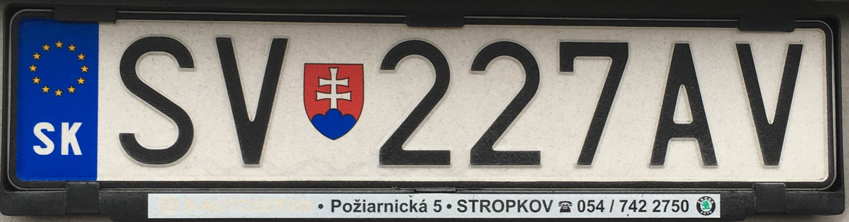 Registrační značka Slovensko – SV – Snina, foto: www.podalnici.cz