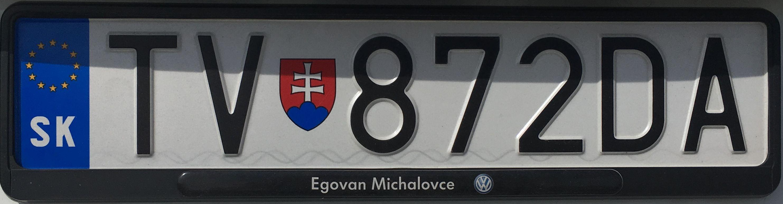 Registrační značka Slovensko - TV - Trebišov, foto:www.podalnici.cz
