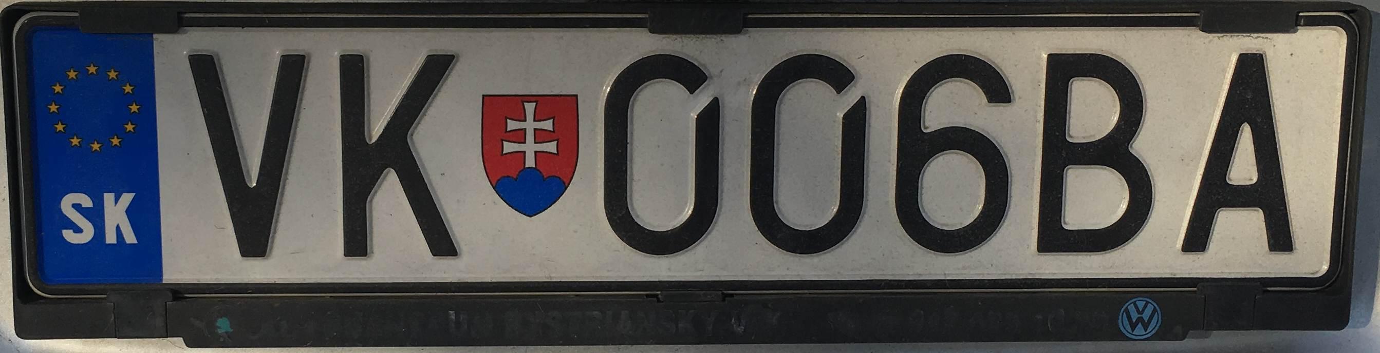 Registrační značka Slovensko – VK – Veľký Krtíš, foto: www.podalnici.cz