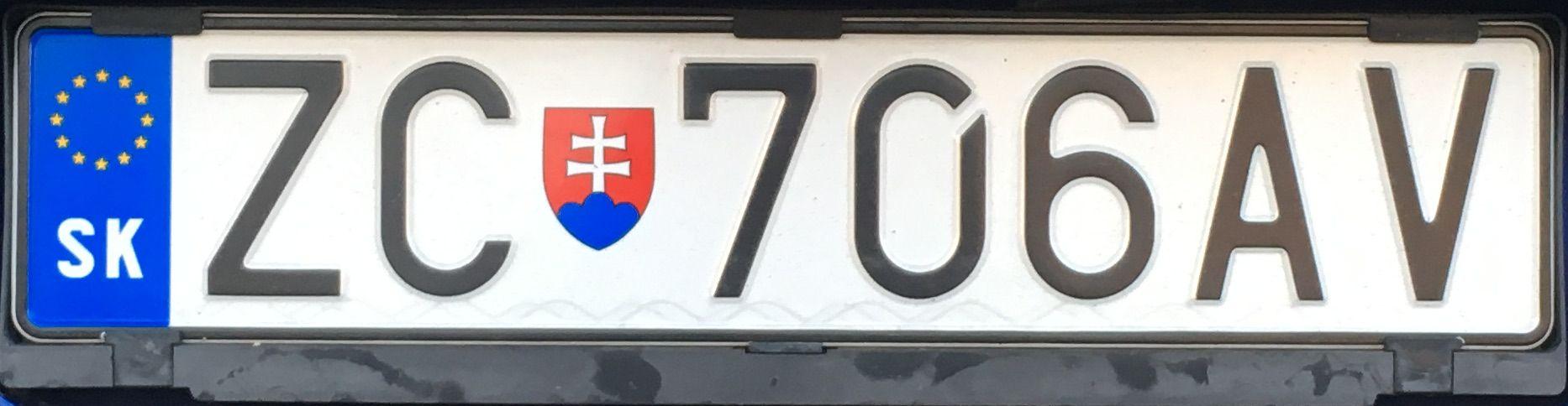 Registrační značka Slovensko – ZC – Žarnovica, foto: www.podalnici.cz