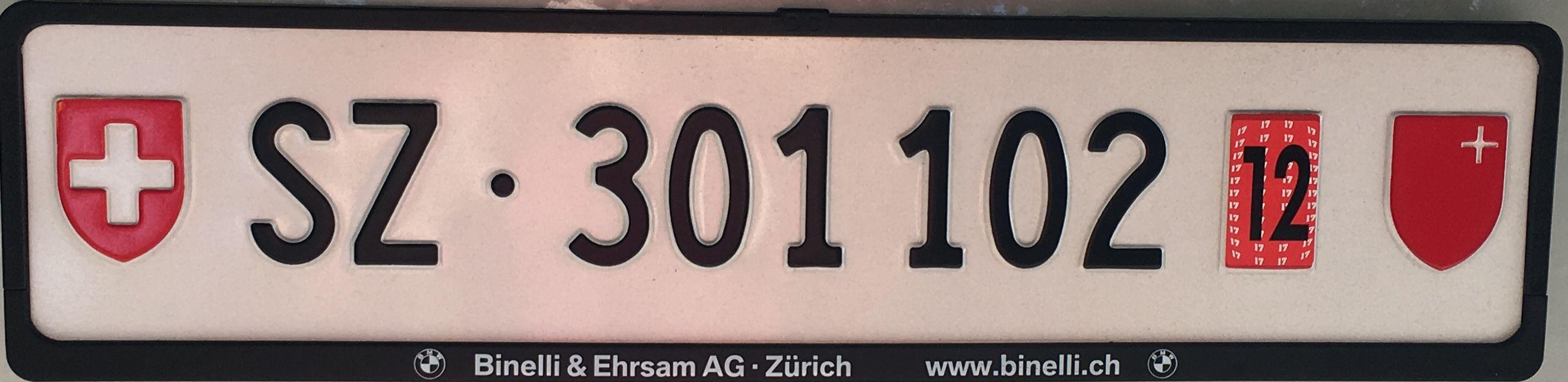 Registrační značky Švýcarsko - dočasná - SZ - Schwyz, foto: www.podalnici.cz