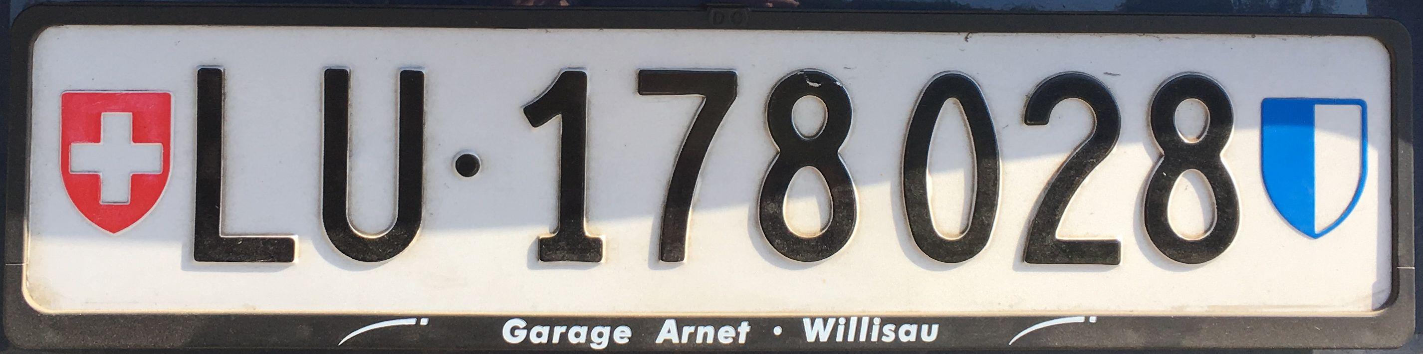 Registrační značky Švýcarsko - LU - Luzern, foto: www.podalnici.cz