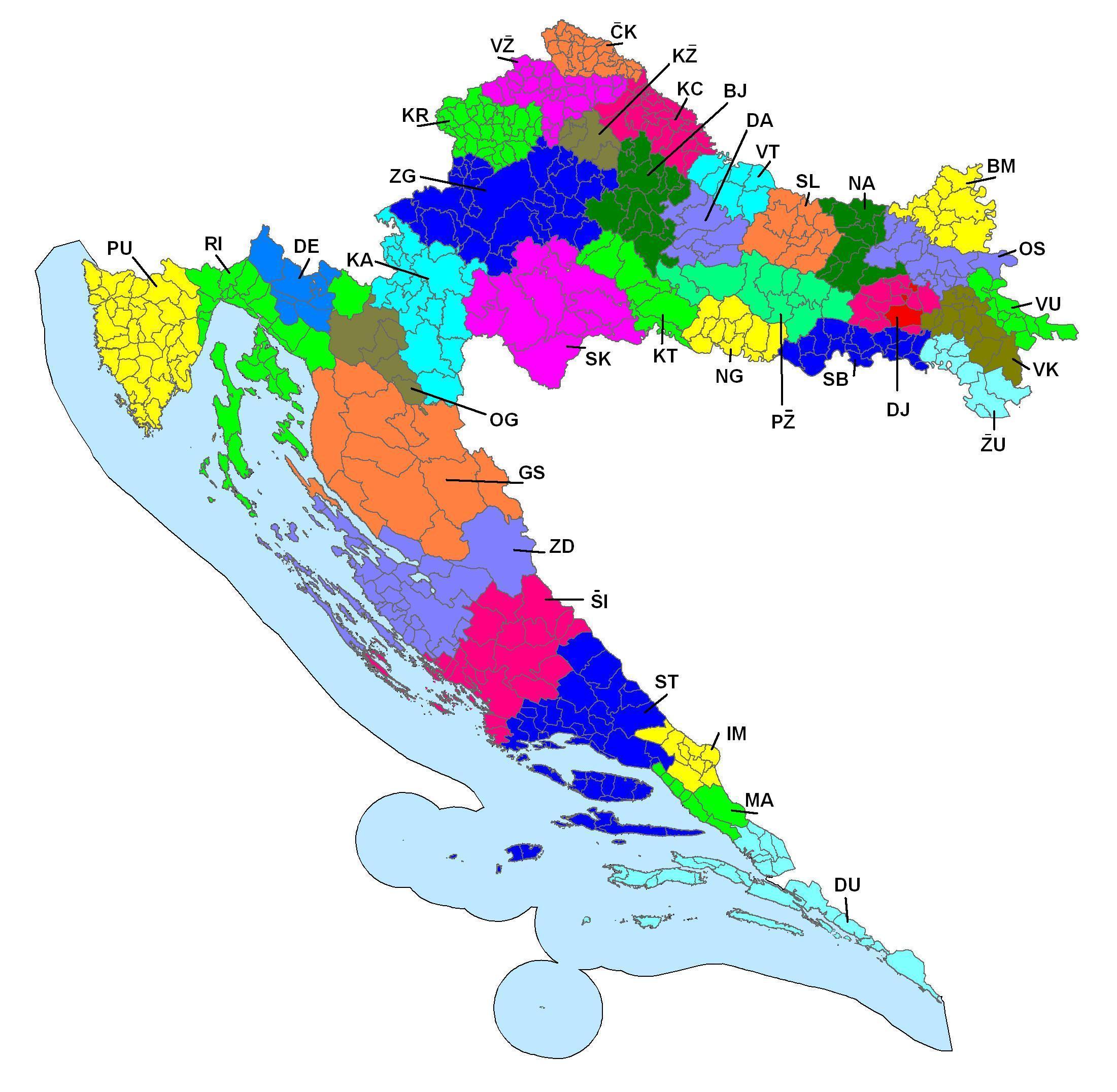 Mapa chorvatských regionálních kódů