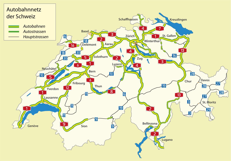 Mapa dálniční sítě ve Švýcarsku
