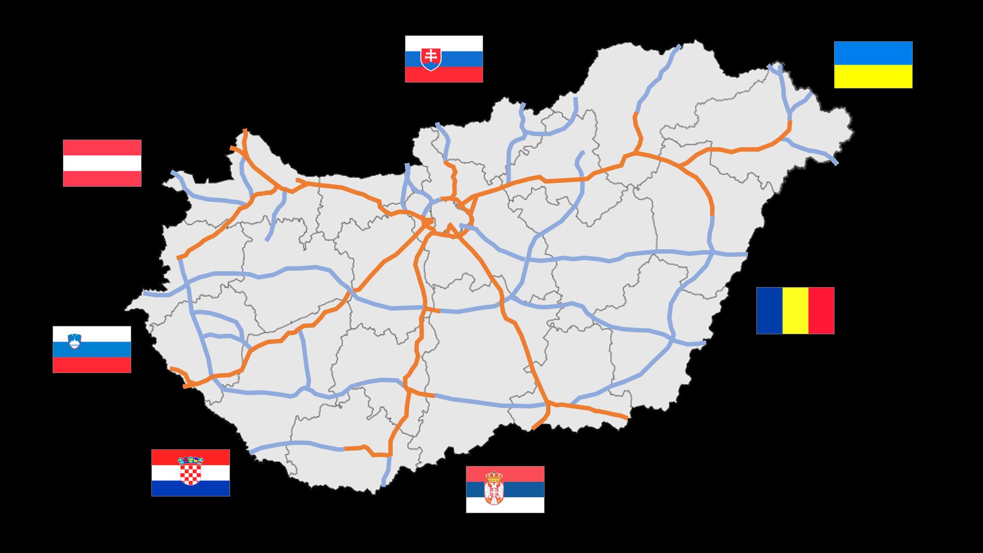 Mapa maďarské dálniční sítě, autor: MrSilesian, volné dílo