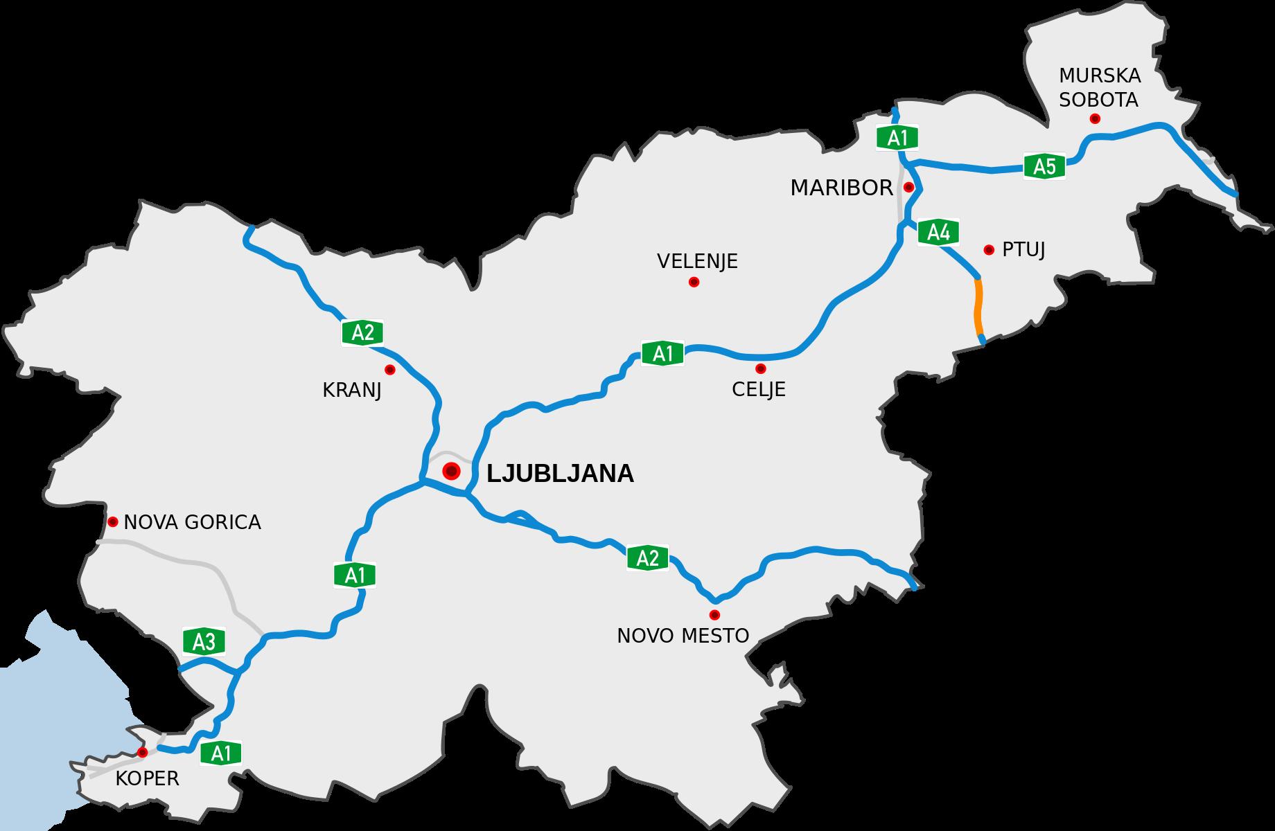 Mapa slovinské dálniční sítě