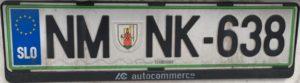 Registrační značka Slovinsko - běžná - NM - Novo Mesto, foto: www.podalnici.cz