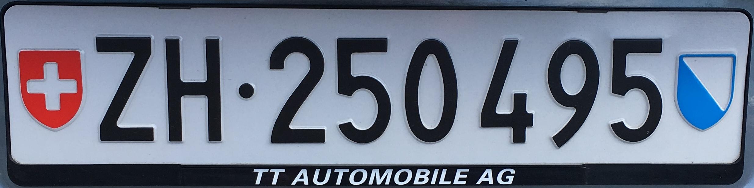 Registrační značky Švýcarsko - běžná - ZH - Zürich, foto: vlastní