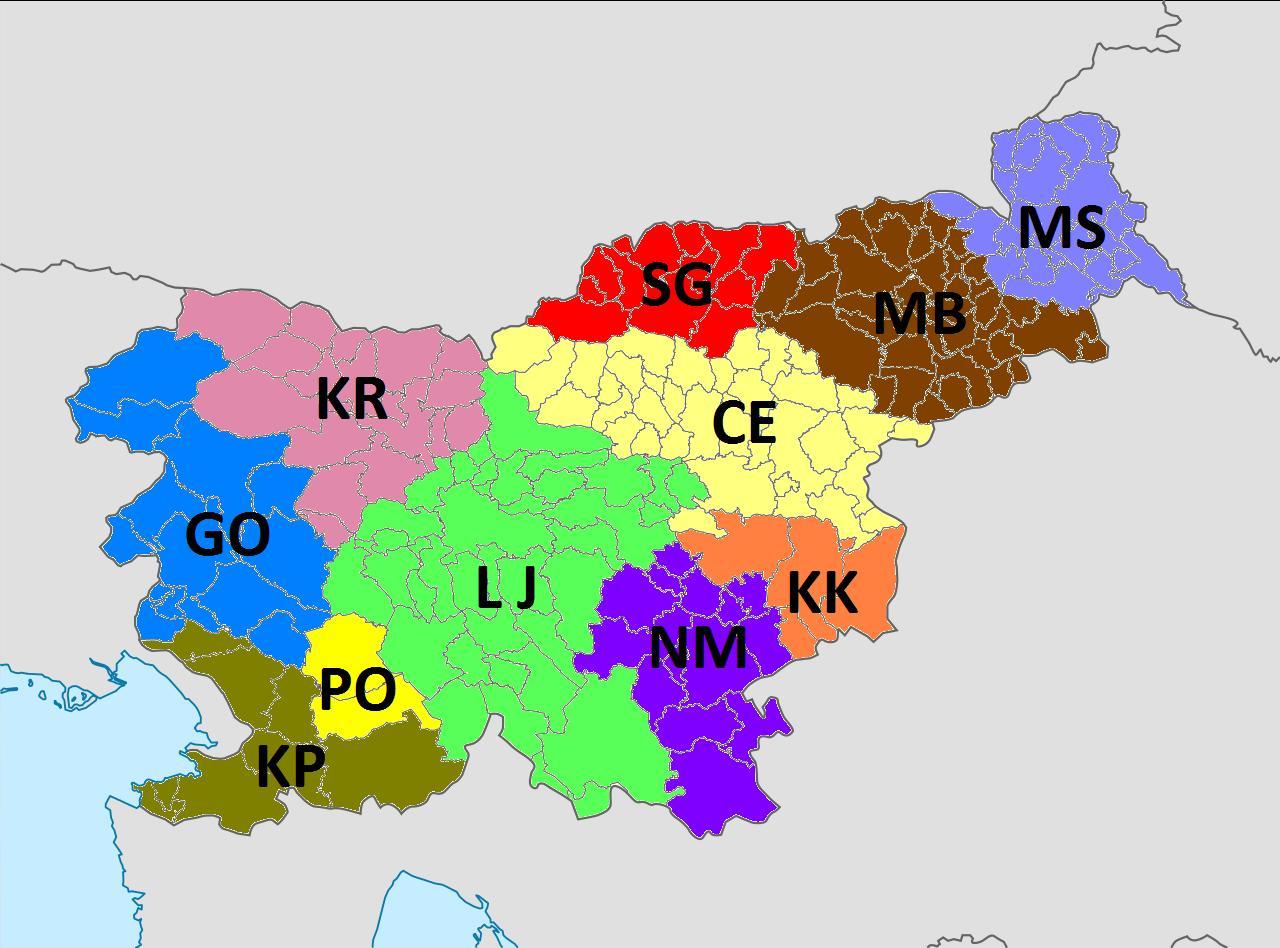 Seznam regionálních kódů registračních značek ve Slovinsku