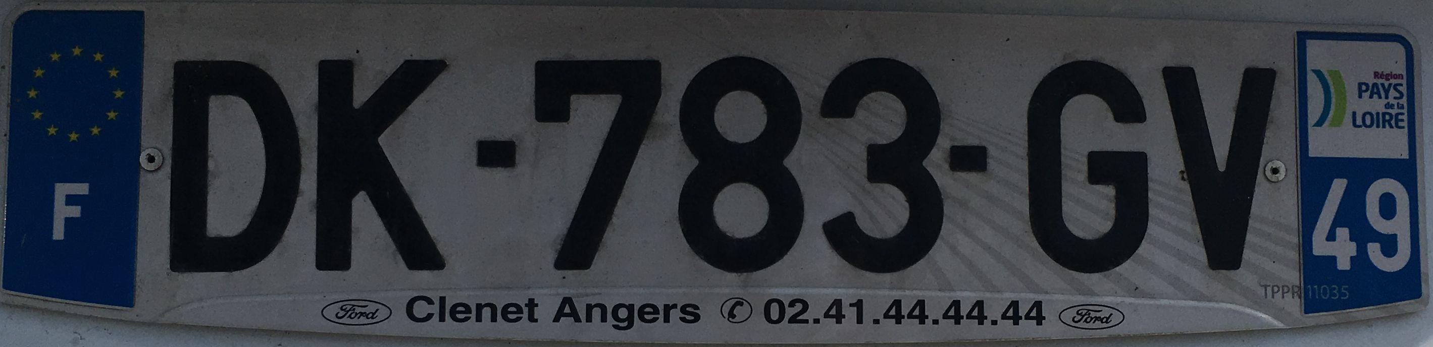 Francouzská registrační značka - 49 - Maine-et-Loire, foto:www.podalnici.cz