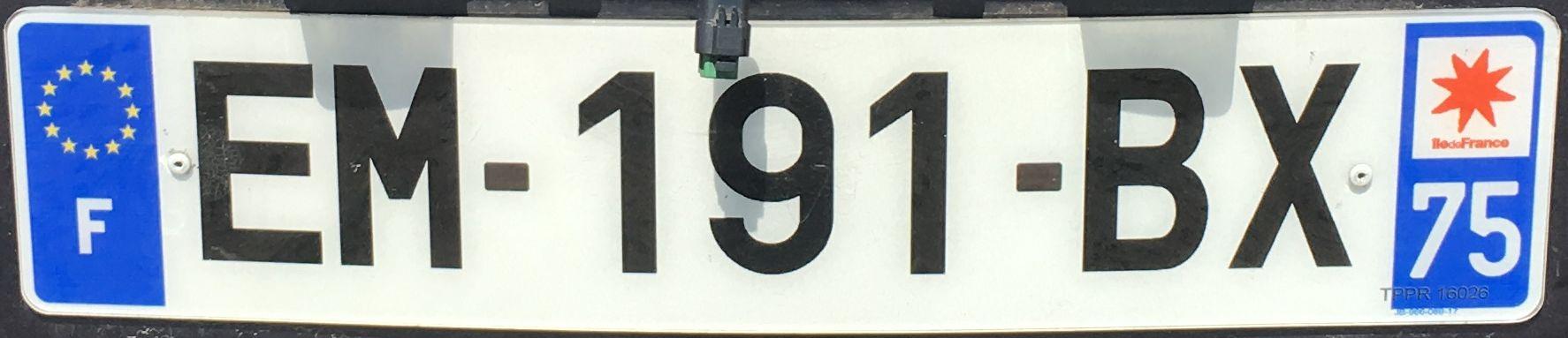 Francouzská registrační značka - 75 - Paris, foto:www.podalnici.cz