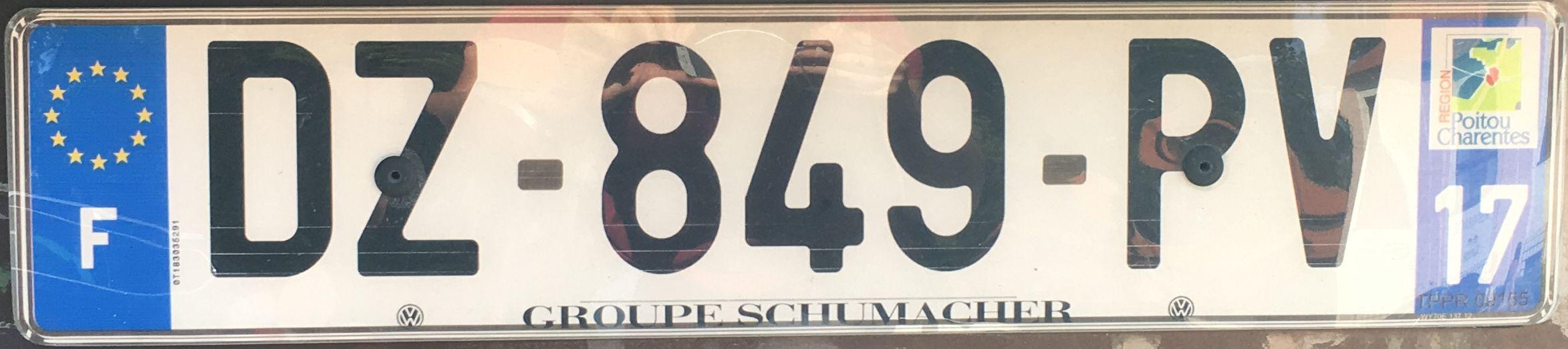Francouzská registrační značka – 17 – Charente-Maritime, foto: www.podalnici.cz