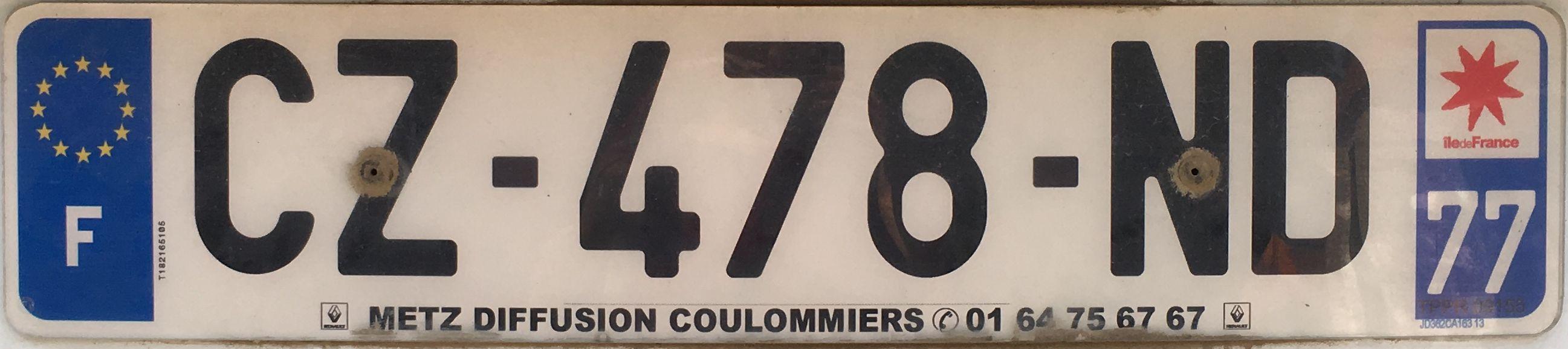 Francouzská registrační značka - 77 - Seine-et-Marne, foto:www.podalnici.cz
