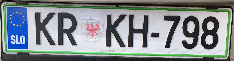 Registrační značka Slovinsko - KR - Kranj, foto: www.podalnici.cz