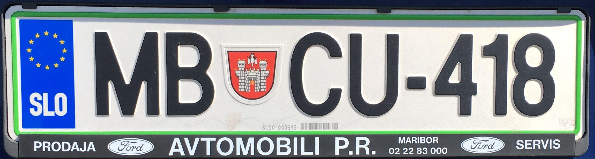Registrační značka Slovinsko - MB - Maribor, foto: www.podalnici.cz