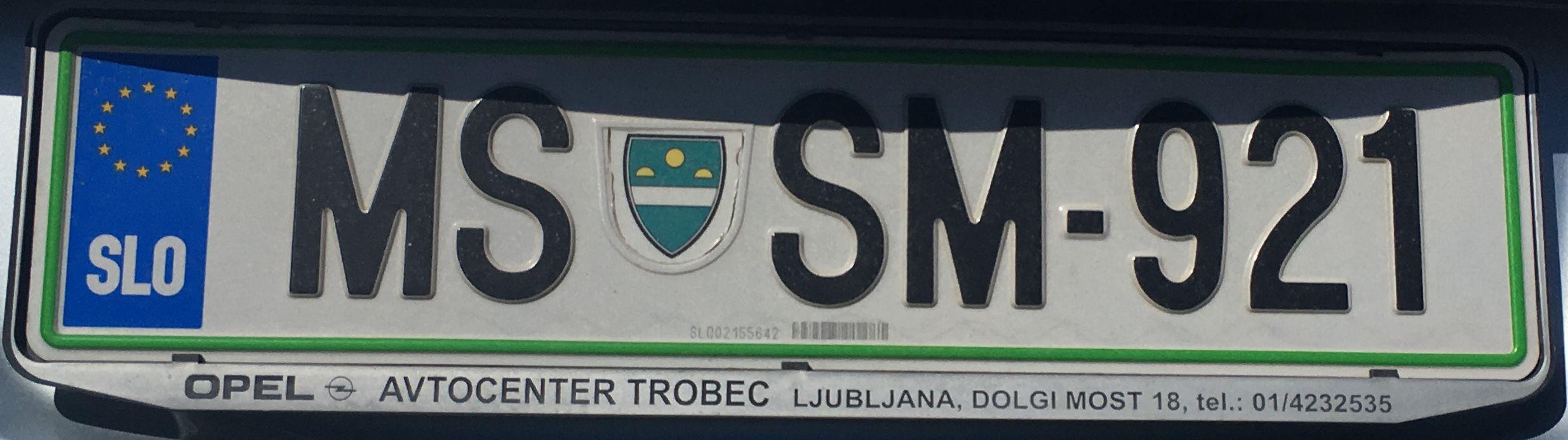 Registrační značka Slovinsko - MS - Murska Sobota, foto: www.podalnici.cz