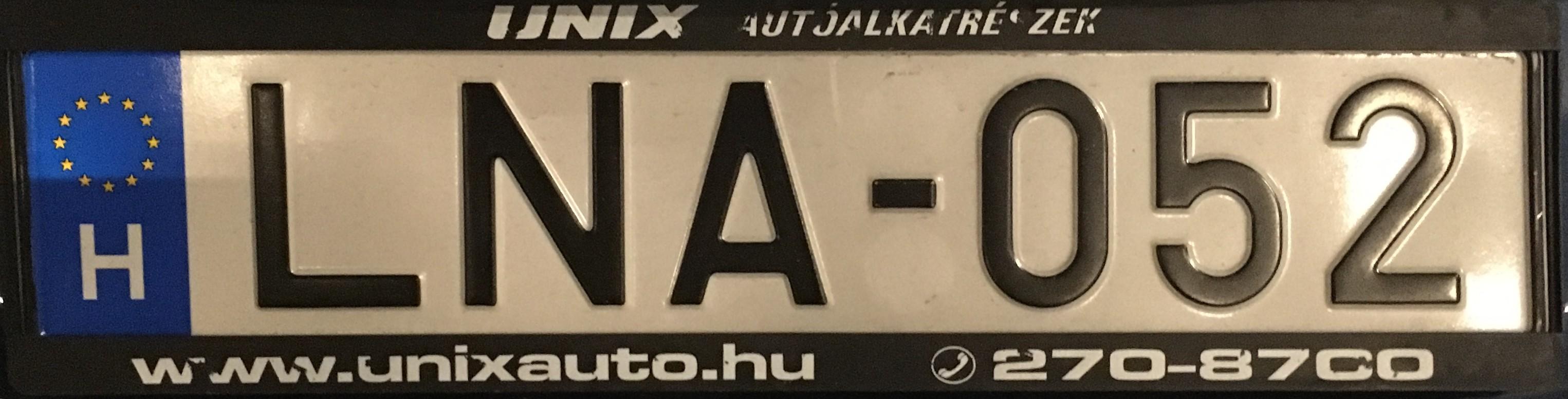 Maďarská registrační značka běžná, foto: vlastní