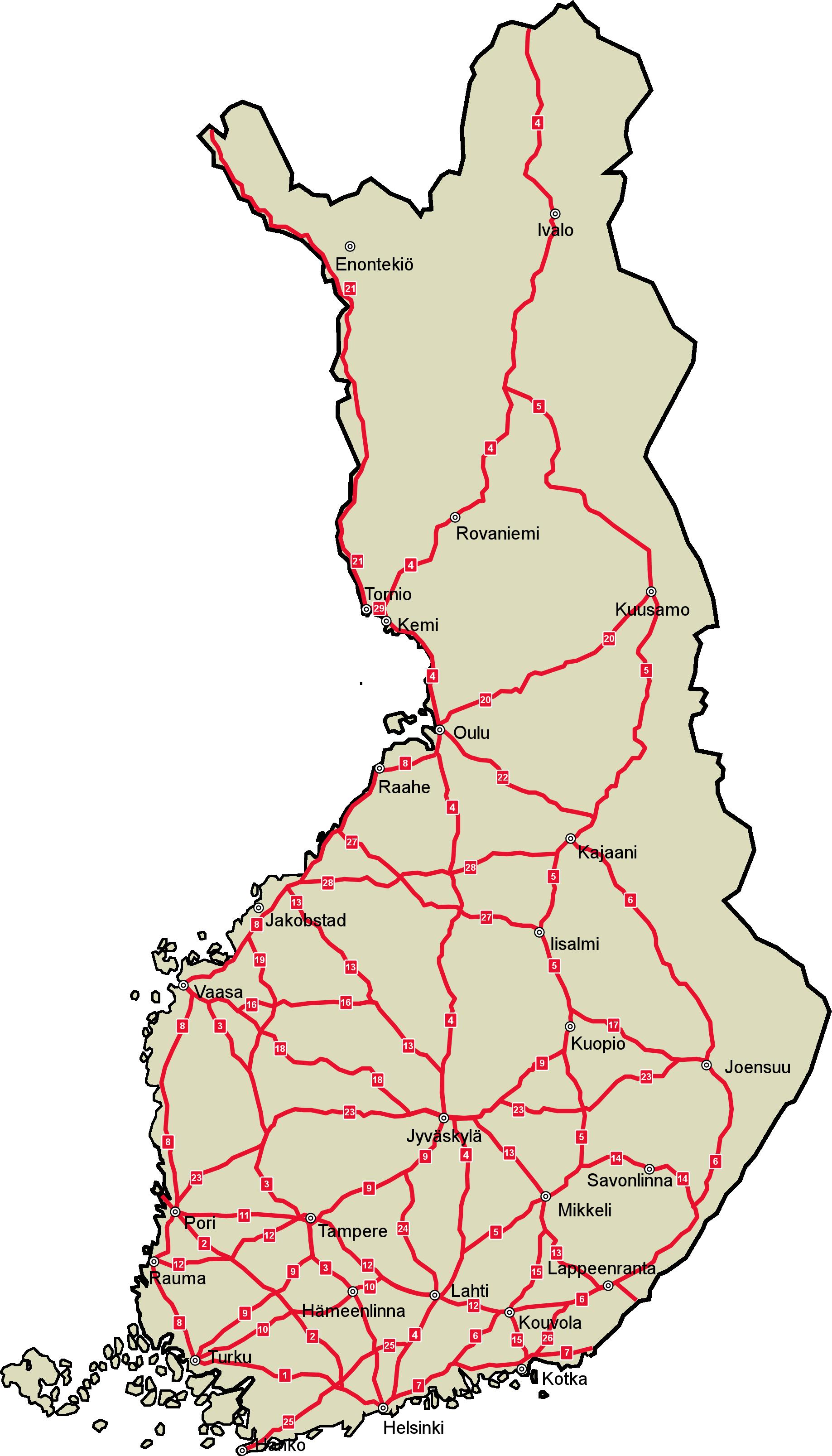 Dálniční síť ve Finsku