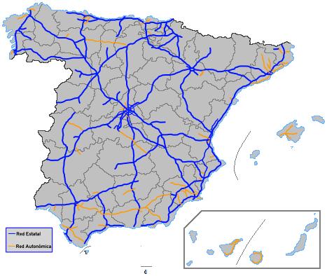 Mapa španělské dálniční sítě