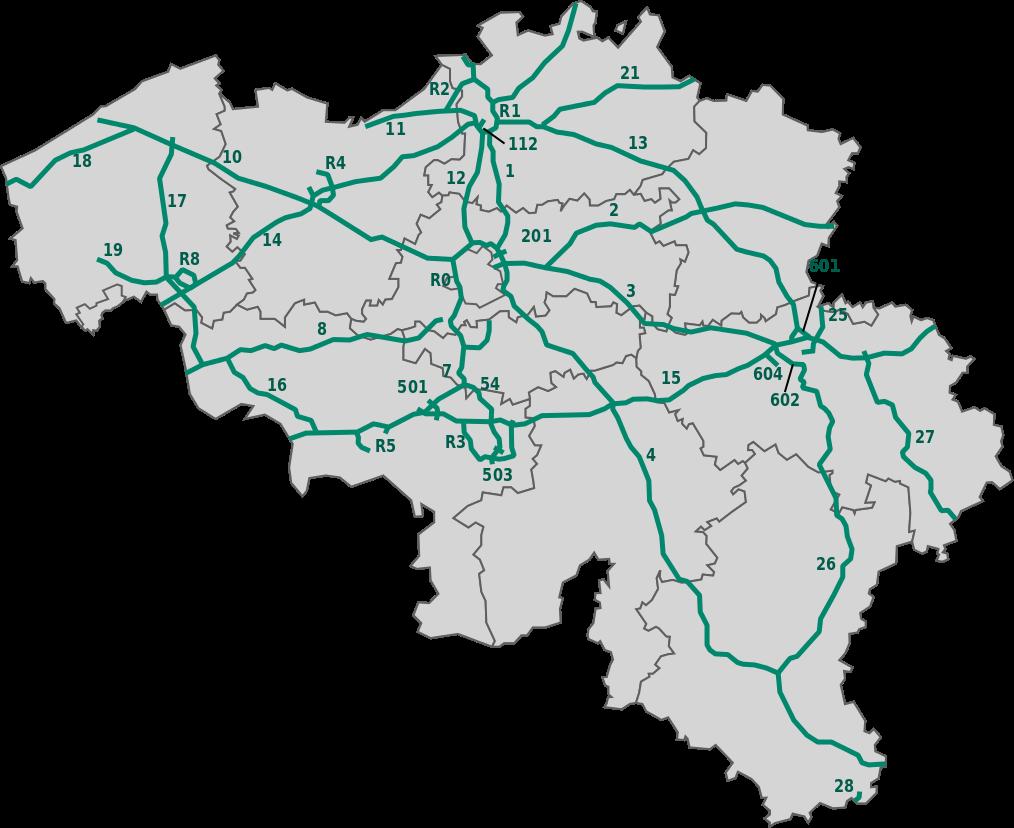 Mapa belgické dálniční sítě