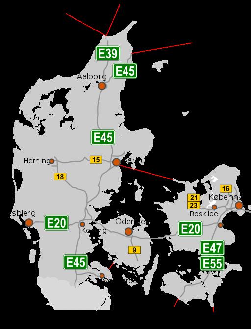Mapa dánské dálniční sítě