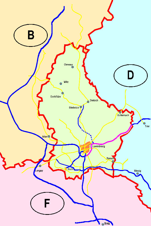 Mapa lucemburské dálniční sítě