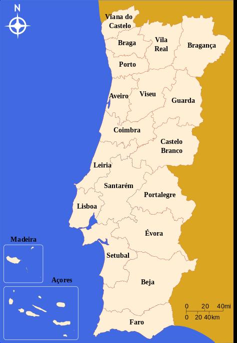 Mapa regionů v Portugalsku