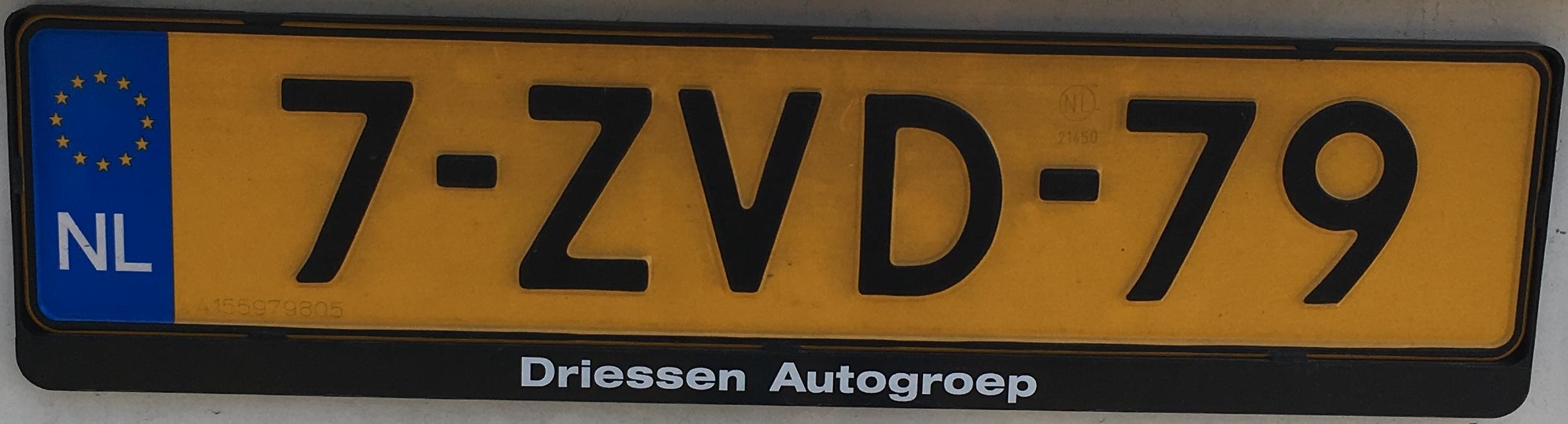 Nizozemská registrační značka běžná - formát 8 , foto: vlastní