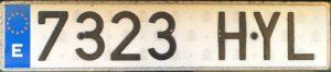 Registrační značka Španělsko, běžná, foto vlastní
