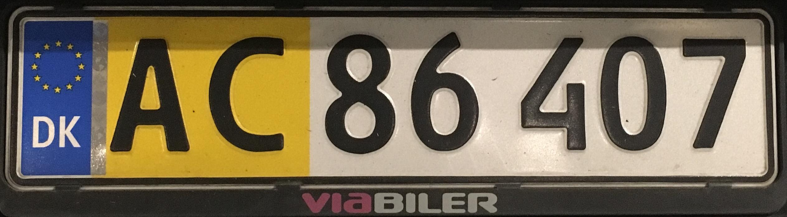 Registrační značka Dánsko - polokomerční, foto: www.podalnici.cz
