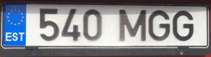 Registrační značka Estonsko běžná, Tallinn a okolí, foto: vlastní