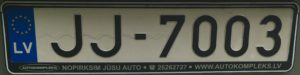 Registrační značka Lotyšsko běžná, foto: vlastní
