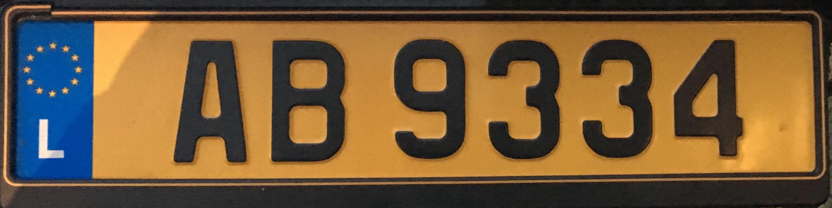 Registrační značka Lucembursko – běžná, foto: www.podalnici.cz