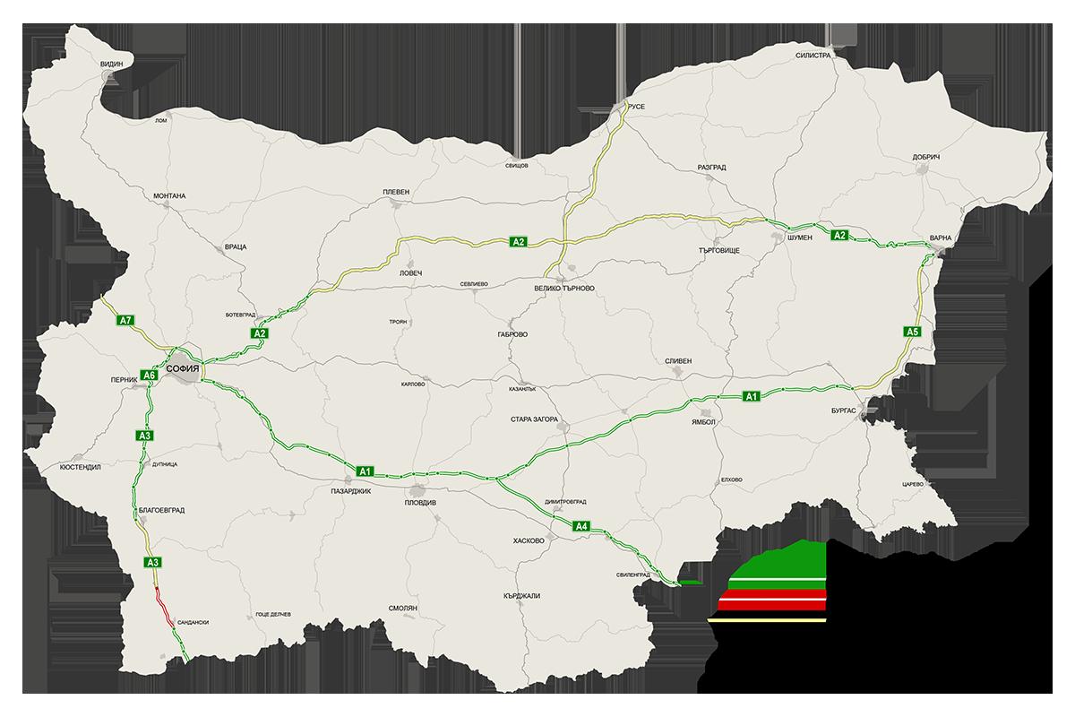 Mapa bulharských dálnic (včetně plánovaných úseků)