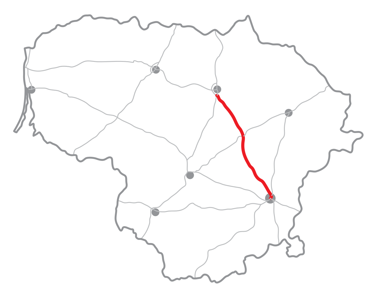 Mapa litevské dálnice A2