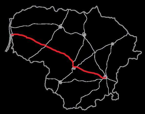 Mapa litevské dálnice A1