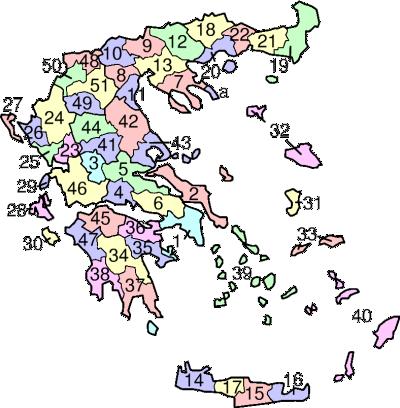 Mapa regionálních kódů Řecko, volné dílo