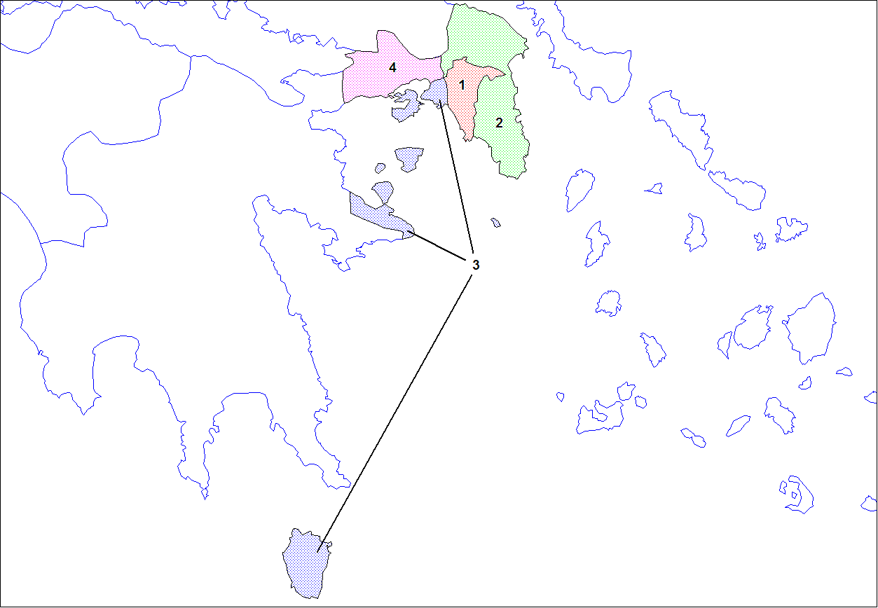Mapa regionálních kódů Attika, volné dílo