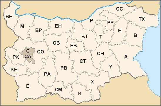 Mapa regionálních kódů registračních značek vozidel v Bulharsku, autor