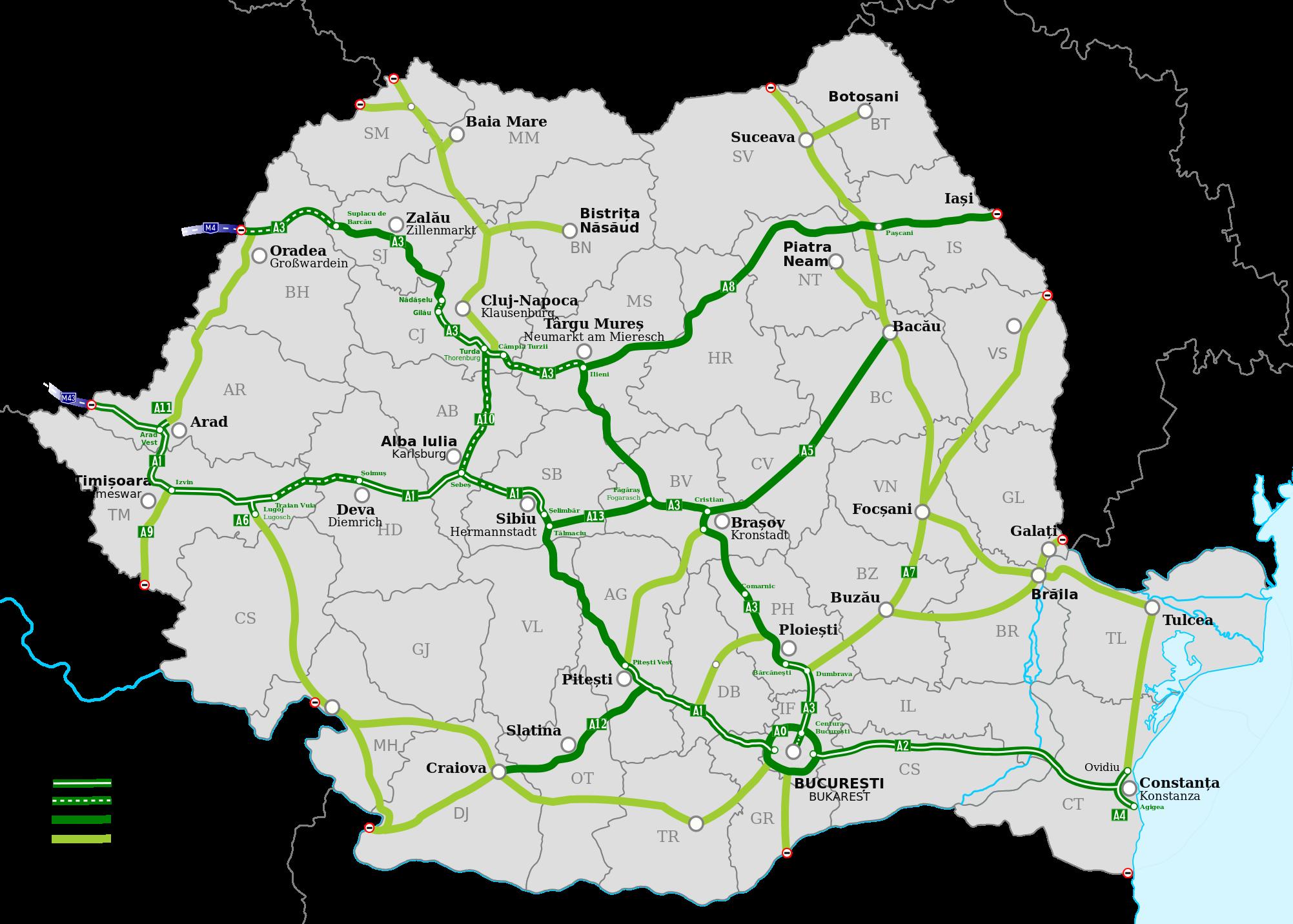 Mapa rumunské dálniční sítě