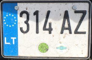 Registrační značka Litva motocyklová, foto: vlastní